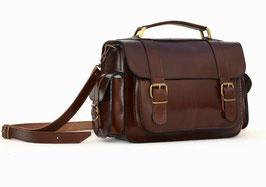 Handmade full grain leather briefcase, bookbag, camera bag, schoolbag or messenger bag