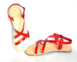 Riemchen Sandalen in rotem Leder