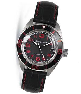 "Automatik watch ""KOMANDIRSKIE K-03"" with large glass bottom by VOSTOK, stainless steel, brushed, ø42mm"
