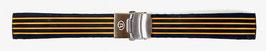 18mm VOSTOK silicone strap, black with orange stripes