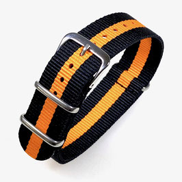 18mm NATO strap for VOSTOK watches, black orange, NATO20-18mm