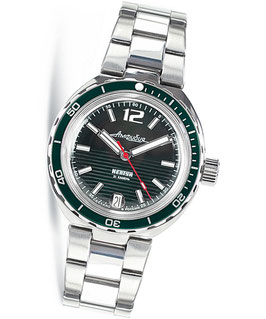 """Russian automatic watch """"AMPHIBIA NEPTUN"""" with glass bottom by VOSTOK, stainless steel, polished, ø40mm"""