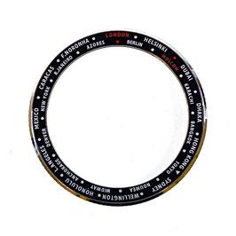 GMT Lünette mit Städtenamen für VOSTOK AMPHIBIA KOMANDIRSKIE Uhren von VOSTOK, Edelstahl, poliert