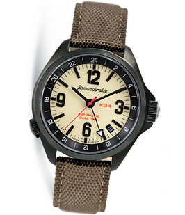Russian automatic watch VOSTOK KOMANDIRSKIE K-34 with additional 24hr dial by VOSTOK, 200m water proof, stainless steel, black PVD coated, ø42mm