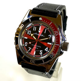 "Russian automatic watch ""AMPHIBIA radio room"" with two colour bezel, glass case back and calfskin leather strap by VOSTOK, 200m water proof, stainless steel, polished, ø40mm"