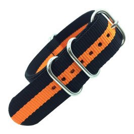 20mm ZULU Armband Nylon Schwarz / Orange (ZULU05-20mm)