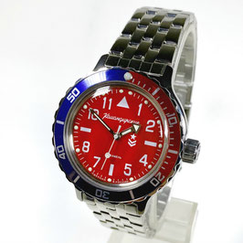 "Automatik pilots watch ""AMPHIBIA K-12"" with PEPSI bezel and glass case back by VOSTOK-Watches24, stainless steel, polished, ø40mm"