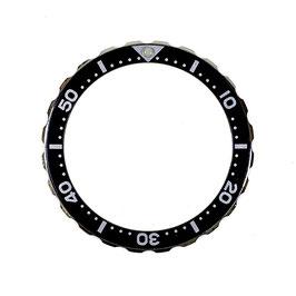 Bezel with minutes for VOSTOK KOMANDIRSKIE watches, stainless steel, black insert, LÜ-INS-70