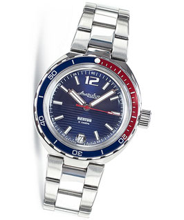 "Russian automatic watch ""AMPHIBIA NEPTUN"" with glass bottom by VOSTOK, stainless steel, polished, ø40mm"