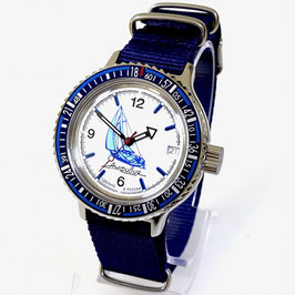 """AMPHIBIA automatic watch """"SAILING"""" with BAIKAL bezel by VOSTOK-Watches24, stainless steel, brushed, ø40mm"""