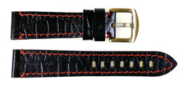 20mm, red stitched AVIATOR leather strap for VOSTOK watches, calfskin, crocodile structure, ARM-LD20-08