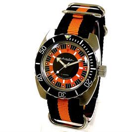 AMPHIBIA Automatikuhr mit ZULU-Armband von Vostok-Watches24, Edelstahl, gebürstet, ø41,5mm