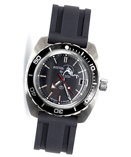 """Russian automatic watch """"AMPHIBIA SCUBA DUDE"""" with Scuba Dude glass case back by VOSTOK, 200m water proof, stainless steel, brushed, ø42mm"""