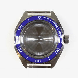 Case 650 for VOSTOK KOMANDIRSKIE watches with blue bezel, with crown and plastic fixation ring, stainless steel, polished, complete
