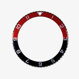 Bezel with hour numbers with black red insert for VOSTOK KOMANDIRSKIE and AMPHIBIA watches, stainless steel, polished, ø40.0mm, LÜ-INS-50