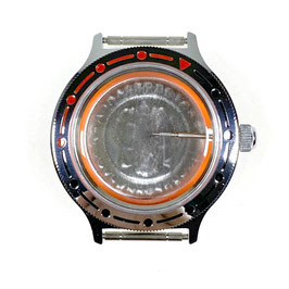 Case 92 for VOSTOK KOMANDIRSKIE watches with polished bezel with crown and metal fixation ring, chrome plated, polished, complete