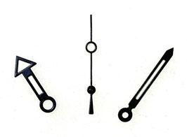 Zeiger für VOSTOK KOMANDIRSKIE und AMPHIBIA Uhren mit einem 24-er Werk, schwarz, schwarze Sekunde. Leuchtmasse SET05
