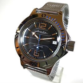 "Russian Automatik diver watch ""AMPHIBIA K-12"" with mesh bracelet by VOSTOK, 200m water proof, stainless steel, polished, ø40mm"