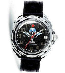 "Russian hand-winding watch KOMANDIRSKIE ""VDV BLACK"" by VOSTOK, polished, ø39mm"