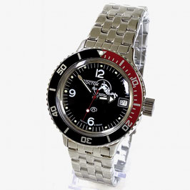"""VOSTOK """"AMPHIBIA"""" K-42 automatic watch """"DIVER Black"""" with black/red bezel and SCUBA case back by VOSTOK, 200m water proof, stainless steel, polished, ø40mm"""