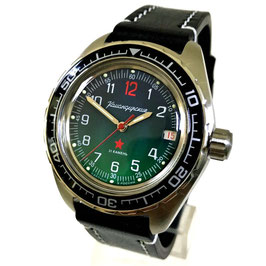 "Automatik watch ""KOMANDIRSKIE K-02"" with glass bottom and pilots strap by VOSTOK, stainless steel, brushed, ø42mm"