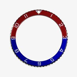 Lünette mit Stundenziffern für VOSTOK AMPHIBIA KOMANDIRSKIE Uhren von VOSTOK, Edelstahl, poliert, blau rot, ø40mm, LÜ-INS-51