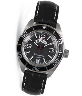 "Automatik watch ""KOMANDIRSKIE K-03"" with large glass bottom by VOSTOK, stainless steel, brushed, ø42mm"