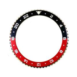 24 Std. Lünette für VOSTOK AMPHIBIA KOMANDIRSKIE Uhren von VOSTOK, Edelstahl, poliert, schwarz rot, ø40,0mm, LÜ-INS-05
