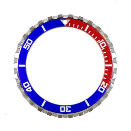 CROWN PEPSI bezel with red & blue insert with silver lettering for VOSTOK KOMANDIRSKIE watches, stainless steel, brushed, ø41.5mm, LÜ-INS-40