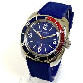 """""""AMPHIBIA"""" mit PEPSI Lünette und AMPHIBIA 1967 Boden und Silikoarmband von Vostok-Watches24, Edelstahl, poliert, ø41mm"""