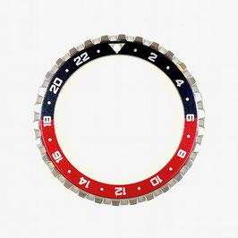24 Std. CROWN Lünette für VOSTOK AMPHIBIA und KOMANDIRSKIE Uhren von VOSTOK, Edelstahl, gebürstet, schwarz rot, ø41,5mm, LÜ-INS-44