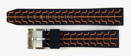 22mm VOSTOK silicone strap SPORT, black / orange