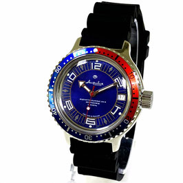 Automatik watch VOSTOK AMPHIBIA with PEPSI bezel and PU strap by Vostok-Watches24, stainless steel, polished, ø40mm