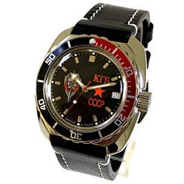 """""""AMPHIBIA KGB"""" mit Glas - Boden, schwarz-roter Lünette und Armband aus Kalbsleder von Vostok-Watches24, Edelstahl, poliert, ø41mm"""