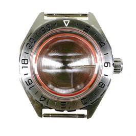 Case 650 for VOSTOK KOMANDIRSKIE watches with brushed 24hr bezel, with crown and plastic fixation ring, stainless steel, polished, complete