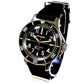 """""""AMPHIBIA SNIPER"""" automatic watch with SuperLumiNova luminous dial hands, AMPHIBIA case back and NATO strap by VOSTOK-Watches24, stainless steel, polished, ø40mm"""