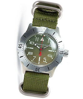 "Russian automatic pilots watch ""KOMANDIRSKIE K-35"" by VOSTOK, stainless steel, brushed, ø42mm"