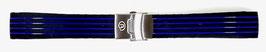 18mm VOSTOK silicone strap, black with blue stripes