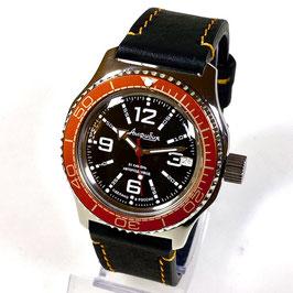 Automatik Uhr Taucheruhr AMPHIBIA mit oranger Lünette, Glasboden und orange gestepptem Kalbslederarmband von VOSTOK, 200m wasserdicht, Edelstahl, poliert, ø42mm