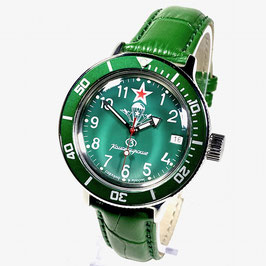 """Russian automatic watch VOSTOK Komandirskie PARACHUTE"""" with glass case back an leather strap by VOSTOK, 200m water proof, stainless steel, polished, ø40mm"""