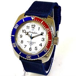 """""""AMPHIBIA"""" mit PEPSI Lünette, Glasboden und Nylonarmband von Vostok-Watches24, Edelstahl, poliert, ø41mm"""