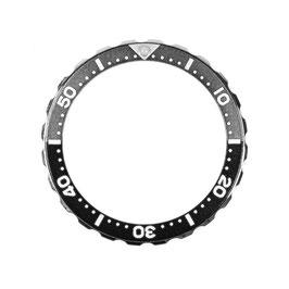Bezel with minutes for VOSTOK KOMANDIRSKIE watches, stainless steel, black & grey insert, LÜ-INS-72