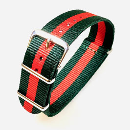 18mm NATO strap for VOSTOK watches, green red, NATO17-18mm