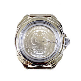 Case 211 for VOSTOK KOMANDIRSKIE hand winding watches, chrome plated, polished, complete