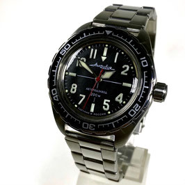 "Automatik pilots watch ""AMPHIBIA K-02"" with luminous dial and hands by VOSTOK, stainless steel, brushed, ø42mm"