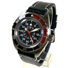 Automatik pilots watch with luminous dial and hands, SuperLumiNova, large glas back, tuned movement, AVIATOR strap by VOSTOK/Watches24, stainless steel, brushed, ø42mm