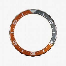 Bezel with minutes for VOSTOK KOMANDIRSKIE watches, stainless steel, orange & grey insert, LÜ-INS-74