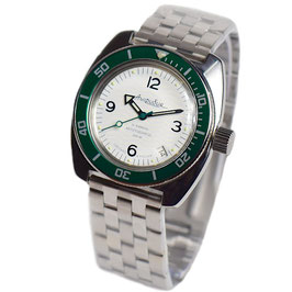 Russian automatic diver watch AMPHIBIA with green bezel and green second hand by VOSTOK, 200m water proof, stainless steel, polished, ø41mm