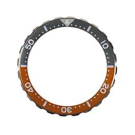 Bezel with minutes for VOSTOK KOMANDIRSKIE watches, stainless steel, orange & grey insert, LÜ-INS-75