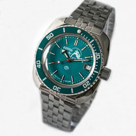 """Russian automatic watch VOSTOK """"AMPHIBIA"""" K-71 with sea blue bezel and SCUBA DUDE case back by VOSTOK, 200m water proof, stainless steel, polished, 41x44mm"""